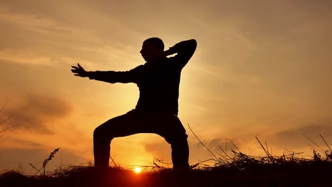man warrior monk practicing silhouette karate kung Fu on the grassy horizon at sunset. Karate kick leg. Art of self-defense. Silhouette on a background of dramatic clouds at sunset nature lifestyle