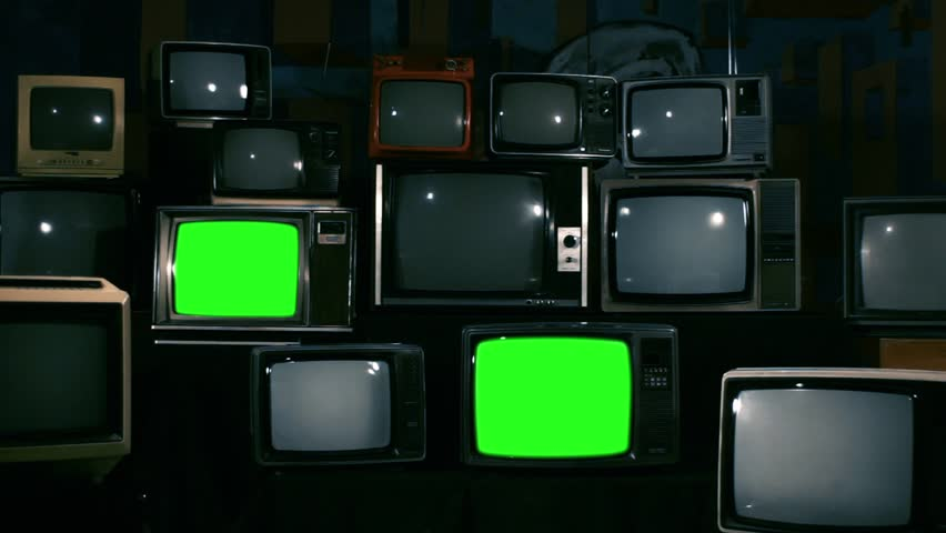 80s Televisions with Green Screens that Turn Off. Zoom In. Ready to replace green screen with any footage or picture you want.  | Shutterstock HD Video #1010083448