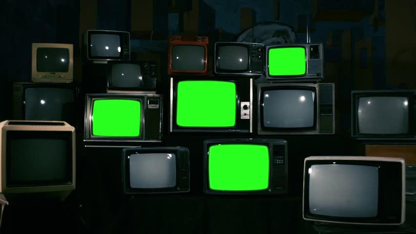 4 Old TVs Turning Off Green Screen. Zoom In. Blue Dark Tone.    Shutterstock HD Video #1010083448