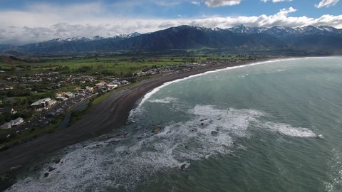 Aerial view of Kaikoura circa 2018, aerial view, New Zealand
