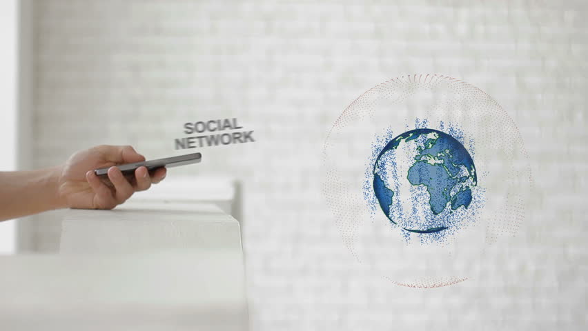 Hands launch the Earth's hologram and Social network text. Man with future technology phone is showing a 3d projection on a modern white background | Shutterstock HD Video #1010113208