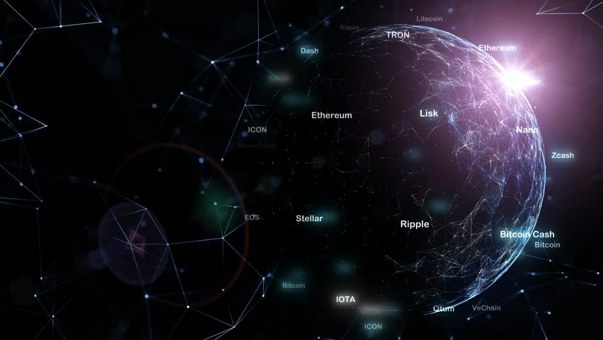 Futuristic cryptocurrency shiny words on sphere motion with cyberspace network background.  #1010126978