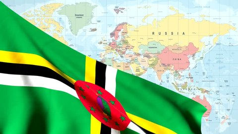 The waving flag of Dominica opens up the view to the position of Dominica on a colored world map
