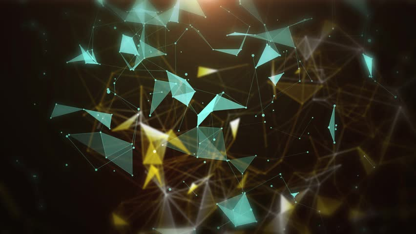 Plexus of abstract neon and gold geometrical lines with moving triangles and dots on a black background animations.