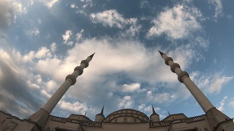 Kocatepe Mosque in Ankara, Time Lapse Video. mosque minaret sky and clouds
