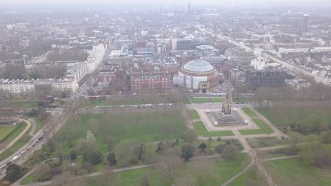 Aerial view of London Hyde Park UK United Kingdom drone top view 4K UHD video