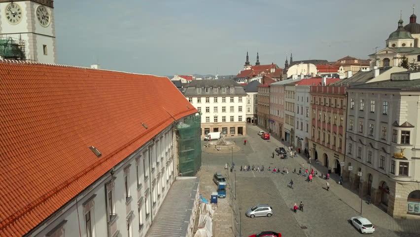 Flight Over Olomouc Old Town, Czech Republic