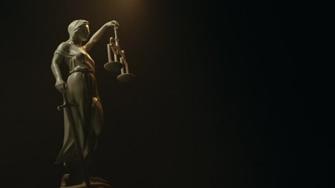 Lady Justice, Themis statue, version A. Blue lighting.