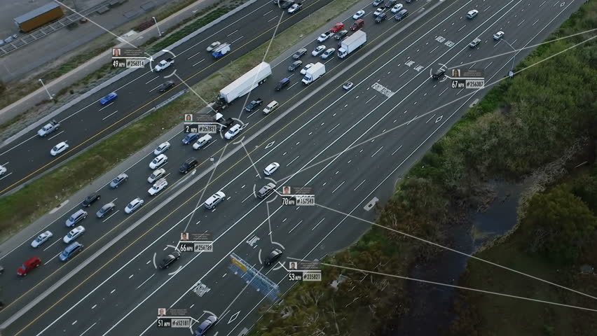 Internet of things. Self or autonomous driving. Cars connected in a network. Blurred and fake data of the cars and drivers. Lore ipsum texts. Future transportation. Artificial intelligence.
