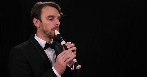 Portrait Musician Flutist Man Playing Recorder Flute Orchestra Music Performer