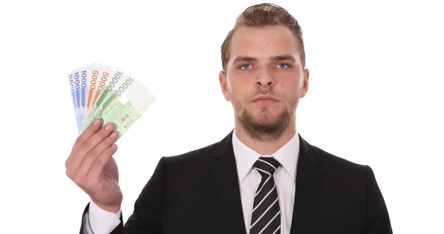 Business Man Showing South Korean Won Banknotes Money Financial Economy Concept