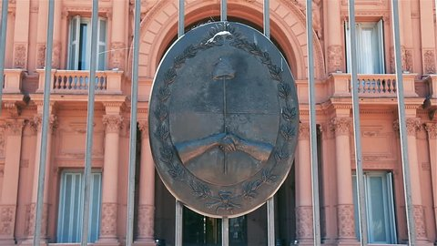 Bronze Shield at the Entrance of The Casa Rosada, in Buenos Aires (Argentina). Close-Up. Zoom In.