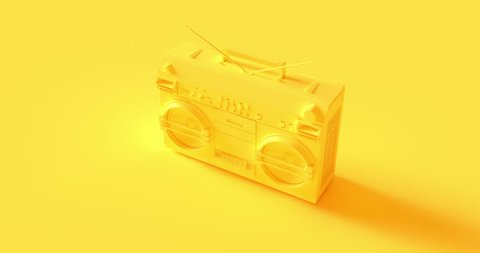 Yellow Boombox 3d illustration 360 animation 400 frames 13 seconds