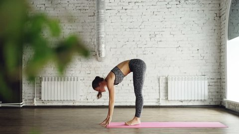 Attractive girl is doing forward bends, plank, leg split during personal yoga training in nice studio. She is managing difficult positions easily. Flexibility strength concept.