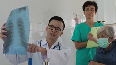 young asian doctor is explain the film of chest X-ray  to the elderly female patient