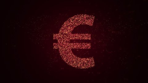 Animation of flying flickering particles form a money sign on dark background with earth map from dots. Animation of seamless loop.