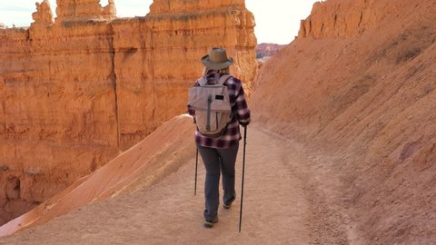 Back view, in movement, hiker mature woman in a cowboy hat with trekking poles and backpack walks along the trail in the rocks of the Bryce Canyon on a sunny day. Slow motion, 4k, 3840x2160.