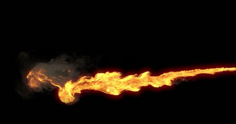 Animated realistic stream of fire like flamethrower shooting or fire-breathing dragon's flames. High quality footage with alpha channel in 4k resolution.
