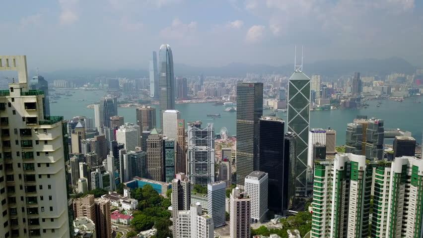 Aerial Drone of Hong Kong Island Skyline - Hong Kong China | Shutterstock HD Video #1010526878