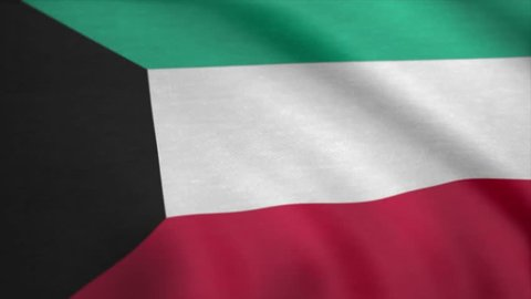 Kuwait Flag. Kuwait Country flag animation waving in the breeze close-up. Background Seamless Looping Animation