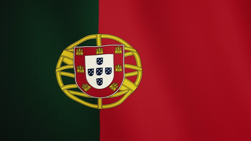 Portugal flag waving animation. Full Screen. Symbol of the country.