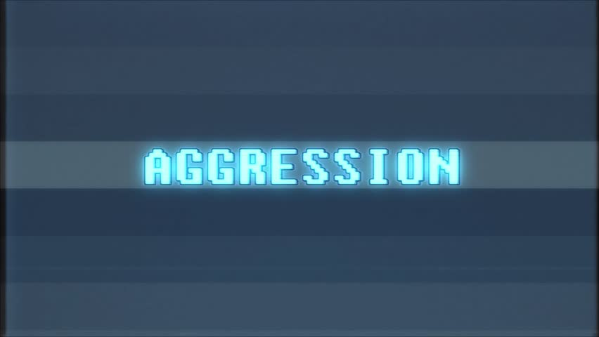 Retro videogame AGGRESSION word text computer old tv glitch interference noise screen animation seamless loop New quality universal vintage motion dynamic animated background colorful joyful video | Shutterstock HD Video #1010553788