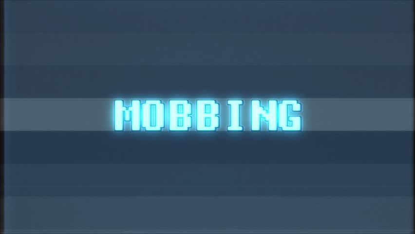 Retro videogame MOBBING word text computer old tv glitch interference noise screen animation seamless loop New quality universal vintage motion dynamic animated background colorful joyful video | Shutterstock HD Video #1010553908