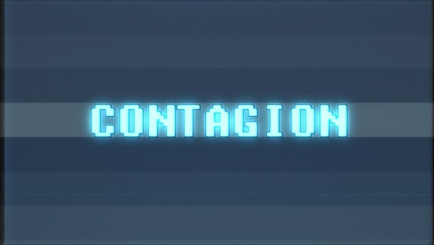 Retro videogame CONTAGION word text computer old tv glitch interference noise screen animation seamless loop New quality universal vintage motion dynamic animated background colorful joyful video | Shutterstock HD Video #1010553998