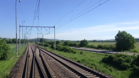 Journey by train to Trencin, Slovakia. First-person view of Railway train trip in Europe. Time-lapse video. Revers.