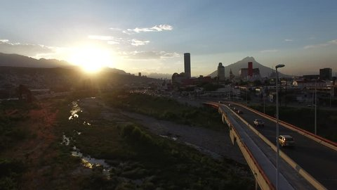 Monterrey Aerial View Skyline Sunset Footage