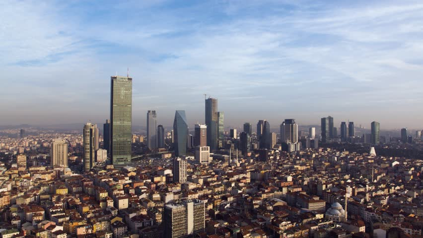 4K Turkey,  istanbul, Bosphorus City Levent, besiktas, night, skyscraper