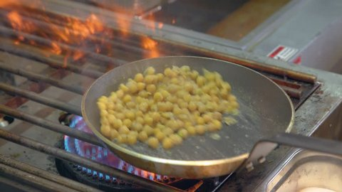 cooking Hummus in a pan