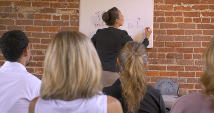 Female multi-ethnic motivational speaker getting the audience excited at a business presentation writing on a dry erase board | Shutterstock HD Video #1010646188