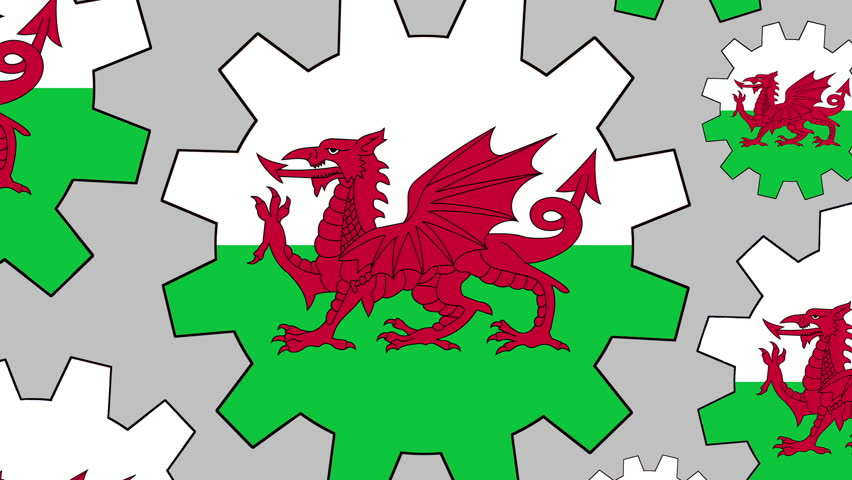 Welsh flag gears rotating background zooming out