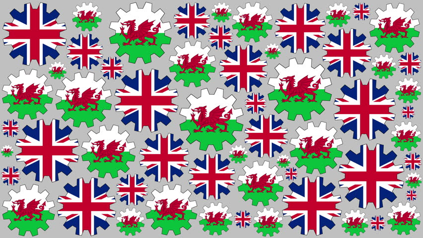 British and welsh flag gears rotating background