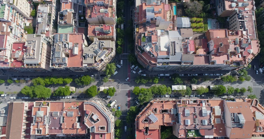 Aerial top view of Barcelona Eixample district street and buildings, urban area, Spain | Shutterstock HD Video #1010674808