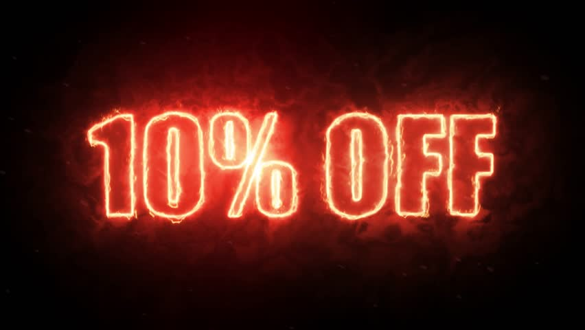 10 percent off burning text symbol in hot fire on black background