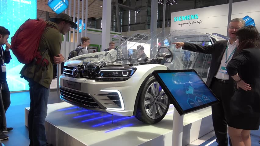 Hannover, Germany - April, 2018: Digital Enterprise in the automotive industry, Volkswagen Tiguan prototype on Siemens stand on Messe fair in Hannover, Germany