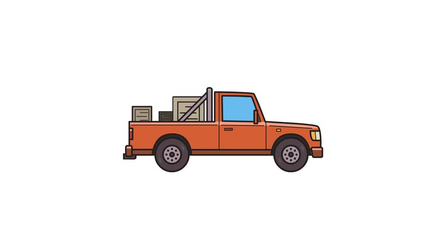 Animated red pickup truck with boxes in the trunk. Delivery car, side view. Flat animation. Isolated on white background
