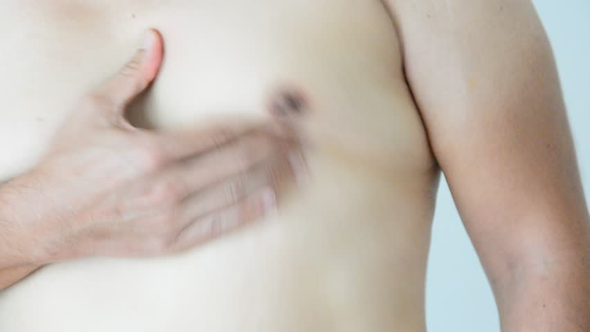 close up shake men boob of fat man