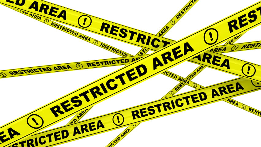Restricted area. Yellow warning tapes with inscription RESTRICTED AREA. Footage video | Shutterstock HD Video #1010790938