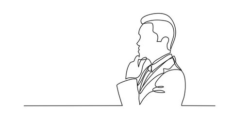 Self drawing animation of thinking businessman - continuous line drawing