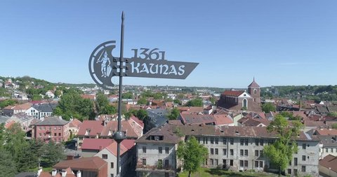 Weather vane on Kaunas castle, Lithuania, drone aerial view.