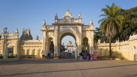 Jan 2018, India, Karnataka, Mysore, City Palace, entrance gateway to the Maharaja's Palace - time lapse
