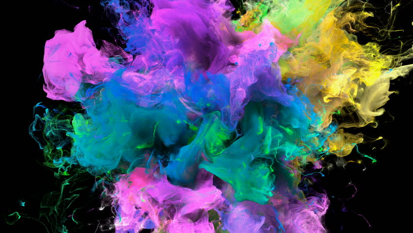 Color Burst - colorful yellow pink blue cyan green smoke explosion fluid gas ink particles slow motion alpha matte isolated on black macro close-up