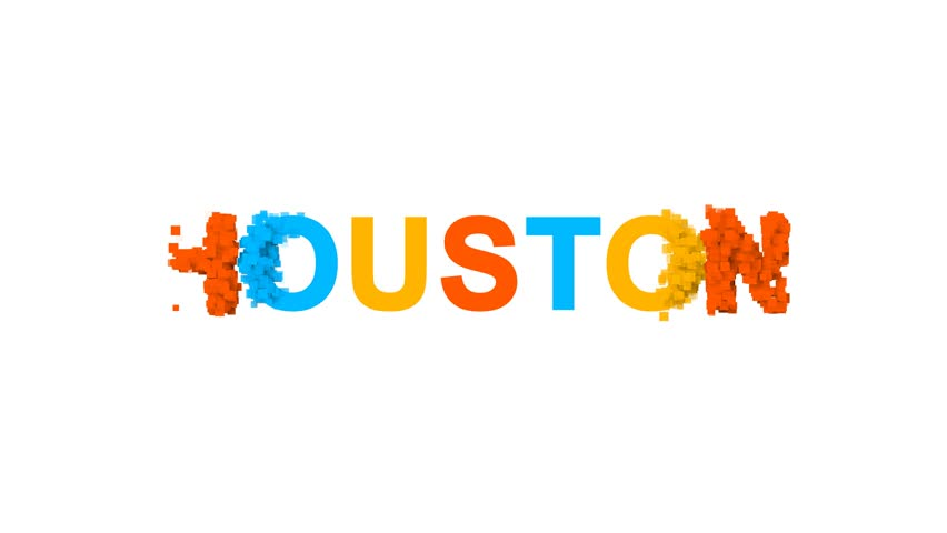 Big city HOUSTON from letters of different colors appears behind small squares. Then disappears. Alpha channel Premultiplied - Matted with color white
