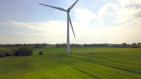 Wind farm in rural countryside Stunning Aerial shot