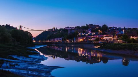 Clifton Suspension Bridge Sunset Time Lapse (Day to Night) & Reflection in River