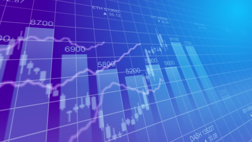Bar graph of cryptocurrency stock exchange market indices animation 4k seamless looping video background. Abstract currency rate chart looped animated purple backdrop. | Shutterstock HD Video #1010978468