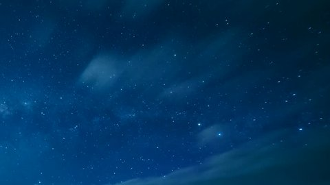 Time Lapse Beautiful Starry Movement In The Night Sky and Milky Way Galaxy, very beautiful blue dark skies with small star shine. Ultra HD, 4K, 3840x2160.